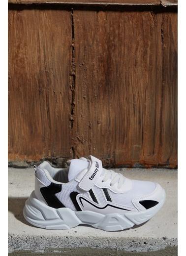 Tonny Black Beyaz Siyah Çocuk Spor Ayakkabı Tb0098 Beyaz